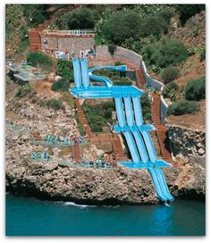 Water slide into the Mediterranean Sea -- Sicily, Italy (all the locations and sites on this page are gorgeous)