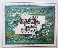 PartiCraft (Participate In Craft): Guess Who Thinks You're Special Flourish Border, The Guess Who, Good Sunday Morning, Sue Wilson, Crafts Beautiful, Paper Crafts, Diy Crafts, Black Card, Embossing Folder