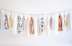 "Image of Tassel Garland- Neutral w/ Silver + Copper // 12' long with 11-16"" tassles. $130. custom colors available."