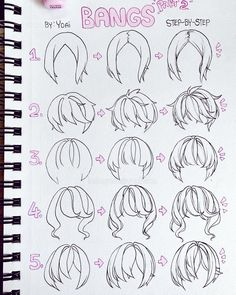 "I hope this helps 👀 Let me know your favourite one ehehe"" Drawing Hair Tutorial, Manga Drawing Tutorials, Art Tutorials, Drawing Tips, Painting Tutorials, Painting Techniques, Drawing Ideas, Art Reference Poses, Drawing Reference"