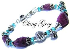 ruby bracelet with apatite and sterling silver accents   http://www.clunygreyjewelry.com/apatite-jewelry.html
