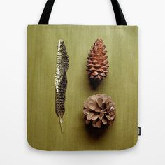 Three fell from a Pine Tree Tote Bag by RichCaspian - $22.00 #photography #nature #pinetrees #feather #feathers #pinecones #pine #green #wood #texture #peaceful #peace #relaxing #zen #elegant #simple #minimal #minimalism #tote #bag #carry #purse #bookbag #travel #shop