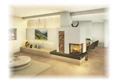 Family Room Fireplace, Living Spaces, Living Room, Can Lights, Kitchen Flooring, Bed Spreads, New Kitchen, Diy Design, Cool Designs