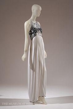 Geoffrey Beene Silk Gown with Metallic Trim. Spring 1990