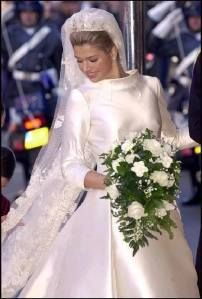 Miss Maxima Zorreguieta Cerruti became HRH Princess Maxima of The Netherlands, Princess of Orange-Nassau when she married HRH Prince Orange on February 2, 2002 in Amsterdam. The bride wore a Valentino long-sleeved ivory gown, with a train inset with embroidered flowers. Her tiara was made especially for the occasion – its base was taken from one owned by Queen Emma, and the stars from one owned by Emma's daughter, Queen Wilhelmina, Queen Beatrix's grandmother.