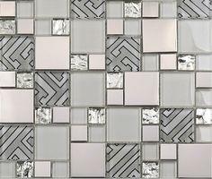Glass mosaic tile kitchen backsplash SSMT112 glossy glass tile metal mosaic stainless steel tiles glass mosaic tiles [SSMT112] - $22.96 : MyBuildingShop.com