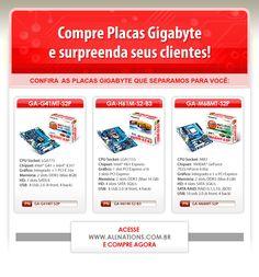 E-mail marketing de algumas placas da marca Gigabyte.