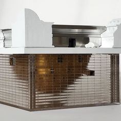 Oblique view of the NSA branch office #architecturalmodel 'Blund Spots' we did for the upcoming #5x5exhibition with @pricegram Really difficult to show all the complexities of this model with photos alone - gotta see it in person!! #pathfab #digitalcraft #3dprinting #architecture #art #nsa #cnc #haas #gilded #subterranian #scalemodel #redacted #blurred #glitch #blindspot #blindspots by pathfab