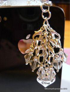 Knitting Diva Phone Charm Dust Plug Stitch by BluOnyxExpressions, $15.00