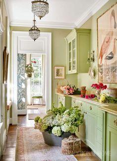 Sarah Bartholomew Design House Of Turquoise Green Kitchen, Kitchen Decor, Kitchen Design, Kitchen Ideas, Diy Kitchen, Decorating Kitchen, Kitchen Colors, Kitchen Interior, House Of Turquoise