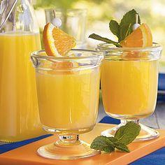Ginger-Orange Sipper  Ingredients:  1 (89-oz.) container orange juice   1 (2-liter) bottle ginger ale, chilled   1 (46-oz.) can pineapple juice, chilled...  Stir together orange juice, ginger ale, and pineapple juice. Serve over ice.  Keep ingredients well chilled, and stir together this orange-infused sparkler when you arrive at your tailgate. Thx allrecipes.com