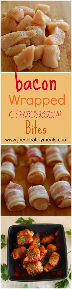 Bacon wrapped chicken bites. Delicious appetizer. http://www.joeshealthymeals.com/2014/11/21/bacon-wrapped-chicken-bites-2/