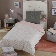 Parure da letto grigia e rosa in cotone stampato 1140x200cm CATS