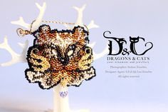 Cat pendant/brooch/scarf multi use jewelry Brown  https://www.facebook.com/dragons.and.cats
