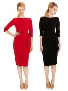 Our Marnie Dress is now available in two new shades - Classic black and bold red #fashion #style #elegant #chic #classic #sophisticated #LBD #littleblackdress #retro #vintage #newin #theprettydress #theprettydresscompany
