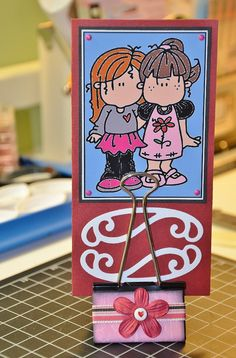 Decorated binder clip Card Holder... but can be used for photo too.