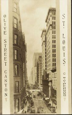 "Postcard of ""Olive Street Canyon."" Olive Street looking west from Fourth Street. (1920)"