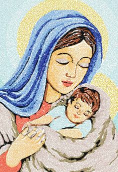 Christ and Mary photo stitch free embroidery design - Machine embroidery forum Size: 5.46 x 7.85'