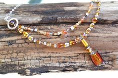 Beaded Necklace LAMPWORK Golden beads Crystal Glass by LKArtChic
