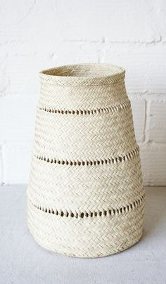 South African Tall Woven Basket: Natural