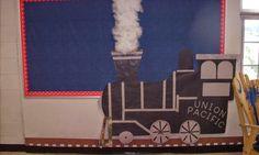 Love this train in dramatic play area as a starter idea. Train Theme Classroom, Classroom Themes, Kindergarten Bulletin Boards, Classroom Bulletin Boards, Trains Preschool, Preschool Crafts, Library Displays, Classroom Displays, Train Bulletin Boards