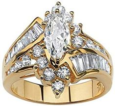 f6f8050de Yellow Gold over Sterling Silver Cubic Zirconia Engagement Ring (Size:  Women's, Palm Beach Jewelry