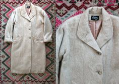 Vintage 1980's Cream Colored Mohair Wool Long Button Up Coat/ Pea Coat Women's Size Large to Extra Large by Loring Made in the USA Preppy by thiefislandvintage on Etsy