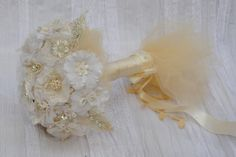 Fabric Bridal Bouquet Vintage Lace Pearls Flowers by carellya, $159.00