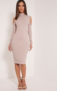 Kellie Taupe Cold Shoulder Ribbed Bodycon Dress