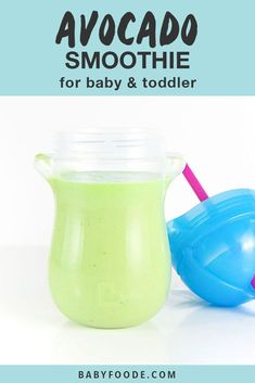 This Avocado Smoothie is a tasty first green smoothie for baby! Loaded with unsaturated fats from the avocado, protein from the yogurt and iron from the spinach, this smoothie can be served as a healthy breakfast, lunch or snack for baby. Baby Smoothies, Toddler Smoothies, Smoothie Prep, Avocado Smoothie, Yummy Smoothies, Smoothie Recipes, Blender Recipes, Baby First Finger Foods, Healthy Store Bought Snacks