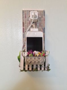 Unique Cell Phone Holder wall socket charging holder by JabberDuck, $35.00