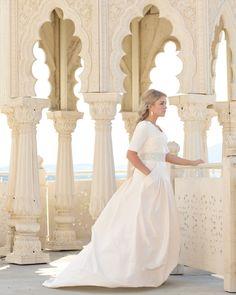 elbow-sleeved modest wedding dress