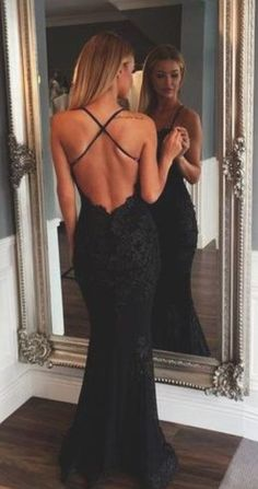 Black Mermaid Evening Dresses,Sexy Open Back Prom Dresses,Spaghetti