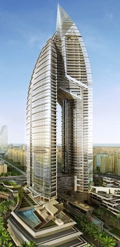 Trump International Hotel & Tower Dubai designed by Atkins Architects :: 62 floors, height 270m