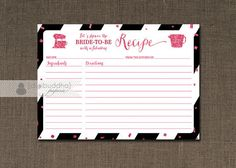 RECIPE CARDS Black & White Stripe Fuchsia Glitter Hot Pink Glittery Modern Glam Bridal Shower Fill-In Cards 4x6 or 5x7 - Stella #Pink #Wedding #PinkWedding #Paper