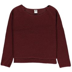 Vero Moda Women's Rice Sun Fig Purple Knitted Jumper ($21) ❤ liked on Polyvore featuring tops, sweaters, shirts, jumpers, boat neck sweater, red top, sleeve shirt, long red shirt and long jumper