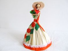 Mexican Corn husk doll with flowers by MEXNIA on Etsy