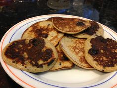Simple and easy protein pancakes! 1 scoop advocare muscle gain 1 banana  1 egg A hint of nutmeg and blueberries!  www.advocareponce.com
