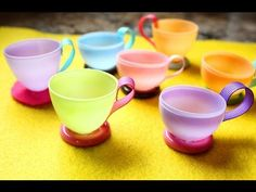 (Let's have a tea party!) How to make teacups using plastic easter eggs Cup Crafts, Easter Crafts, Crafts For Kids, Plastic Easter Eggs, Plastic Plates, Rosalie, World Thinking Day, Girl Scout Swap, Daisy Girl Scouts