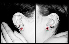 Cherry Blossom Ear Tattoo