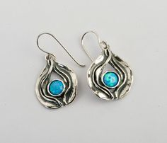 Wonderful Silver Earrings With Cabochon Opal Blue Stone Shablool Didae Israel