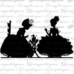 Tea Party Pretty Little Girls Silhouette Big Dress Tea Pot Cups Digital Image Download Transfer To Pillows Totes Tea Towels Burlap No. 2353