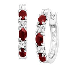 1 12 ct Natural Garnet Hoop Earrings with Diamonds in PlatinumPlated Brass 875 -- More info could be found at the image url.(This is an Amazon affiliate link and I receive a commission for the sales)