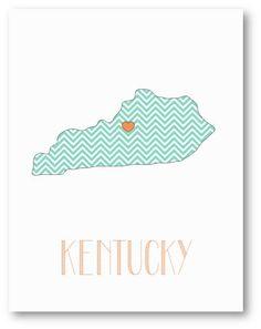 USA - KENTUCKY Map , Chevron Pattern State Love Print