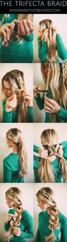 The Trifecta Braid (Barefoot Blonde) www. The Trifecta Braid (Barefoot Blonde) www. No Heat Hairstyles, Pretty Hairstyles, Braided Hairstyles, Hairstyles 2018, Summer Hairstyles, Blonde Hairstyles, Simple Hairstyles, Formal Hairstyles, Wedding Hairstyles
