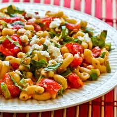 Macaroni Salad with Fresh Tomatoes, Fresh Basil, and Feta; this is a delicious way to use garden tomatoes and basil! [from KalynsKitchen.com] #Meatless #GardenVeggies #PastaSalad
