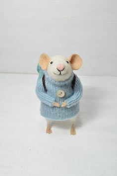 THE LAST ONE Little Traveler Mouse - unique - needle felted ornament animal, felting dreams made to order. $68.00, via Etsy.