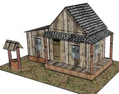 Old Country House for Diorama Free Building Paper Model Download - http://www.papercraftsquare.com/old-country-house-for-diorama-free-building-paper-model-download.html#BuildingPaperModel, #Diorama, #House