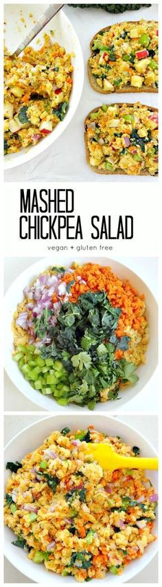 Vegan + GF - Mashed Chickpea Salad. Easy, yummy and healthy with lots of veggies (and kale!), plant protein, fiber, flavor and vibrant crunch.