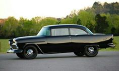 1955 Chevrolet Bel Air all in black. And cool wheels too. 1955 Chevy, 1955 Chevrolet, Chevrolet Bel Air, Automobile, Hot Rides, Sweet Cars, Drag Cars, Us Cars, American Muscle Cars